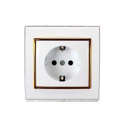 Steckdose mit Schutzkontakt Farbe weiß/gold IP20 16A, 230 V
