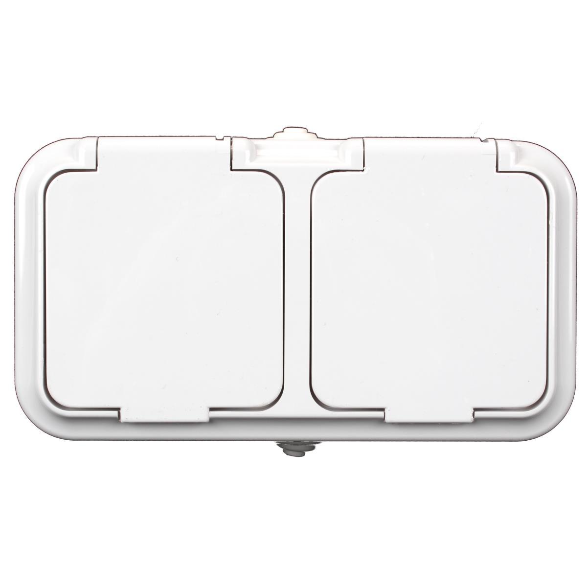 Aufputz doppel zweifach Schuko Steckdose IP54 mit Schutzkontakt weiß serie OKKO,OKKO,PA16-303, 4810158061862