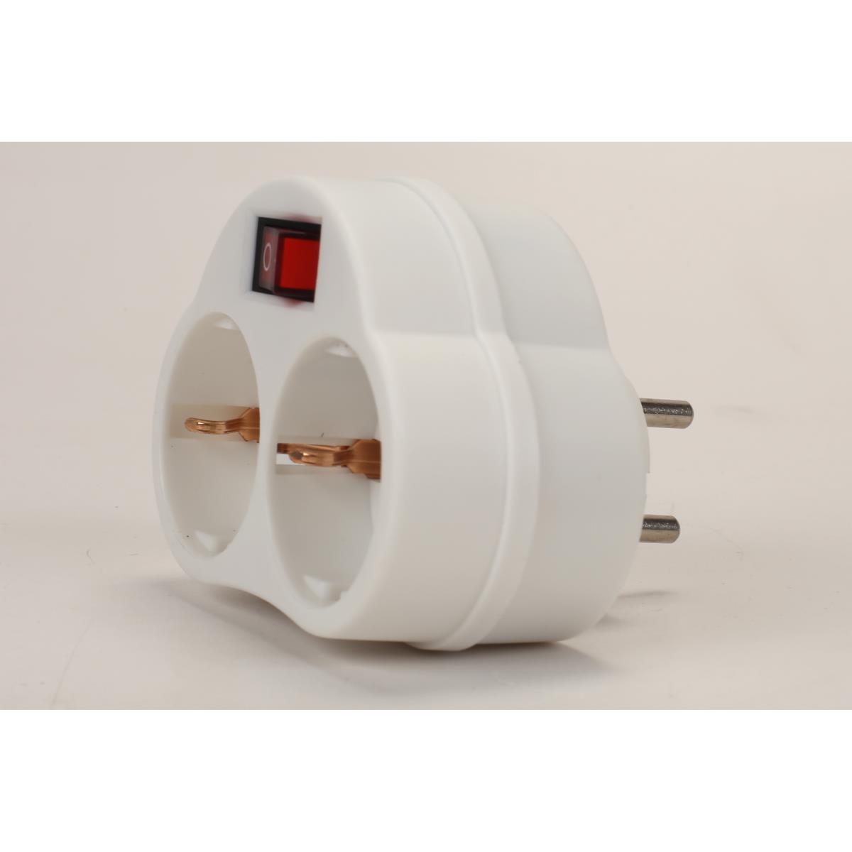 Doppel zweifach Steckdose mit Schalter Steckdosenschalter Stecker weiß 230V,OKKO,KF-ZB-01-02K, 4772013040774