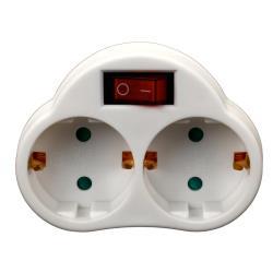 Doppel zweifach Steckdose mit Schalter Steckdosenschalter Stecker weiß 230V