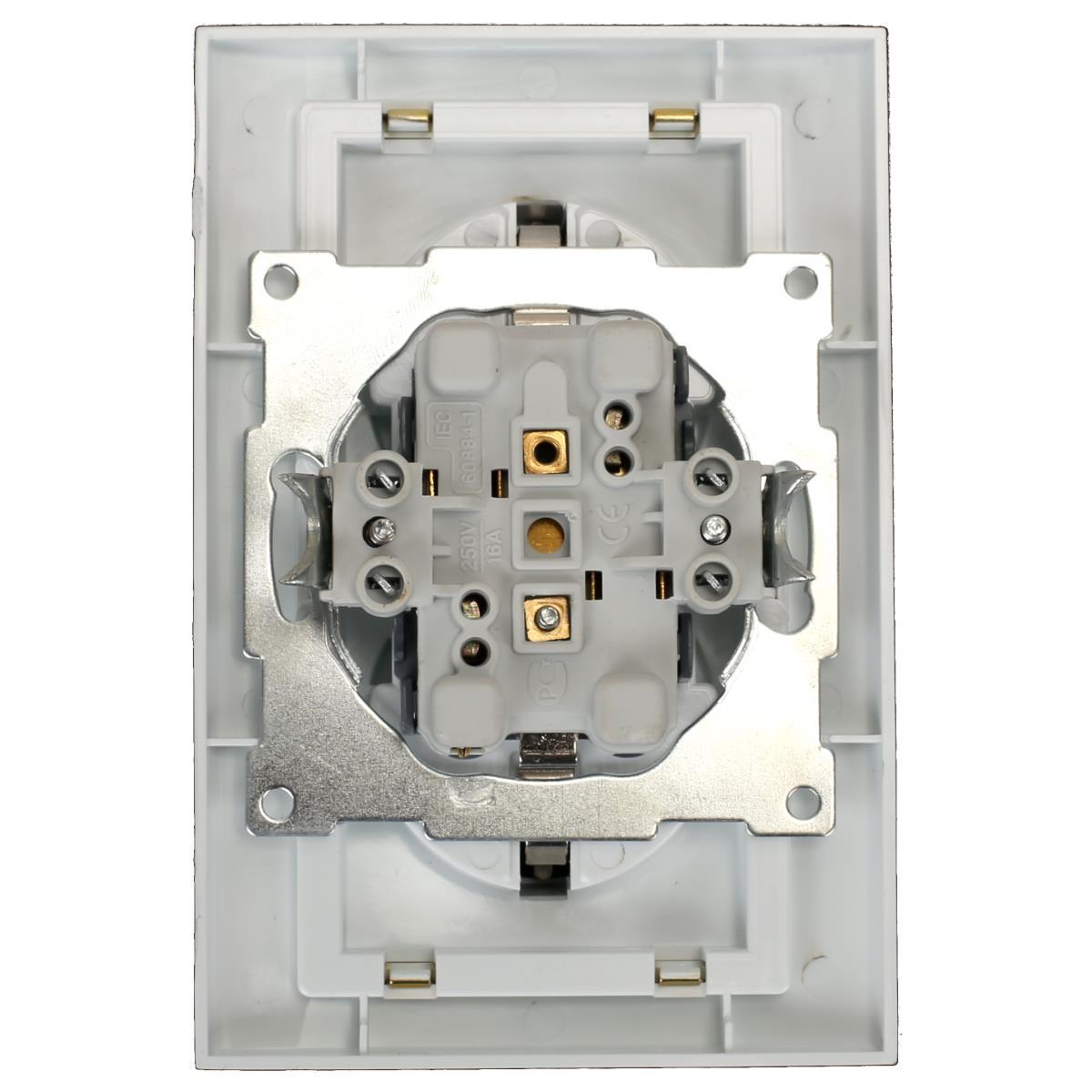 Doppel zweifach Steckdose mit Schutzkontakt Farbe weiß/gold 16 A, 250 V ,OKKO,9209-52, 4772013048664