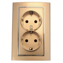 Doppel zweifach Steckdose mit Schutzkontakt Frabe champagner/silber 16 A, 250 V,OKKO,9209-52-C, 4772013048701