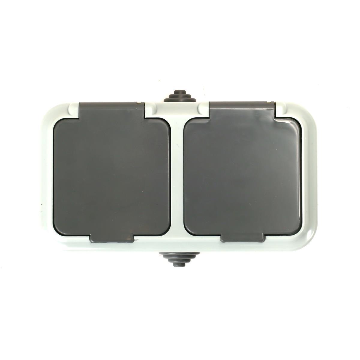 Aufputz doppel Schuko Steckdose IP54 mit Schutzkontakt grau serie OKKO,OKKO,PA16-303-03, 4810158061886
