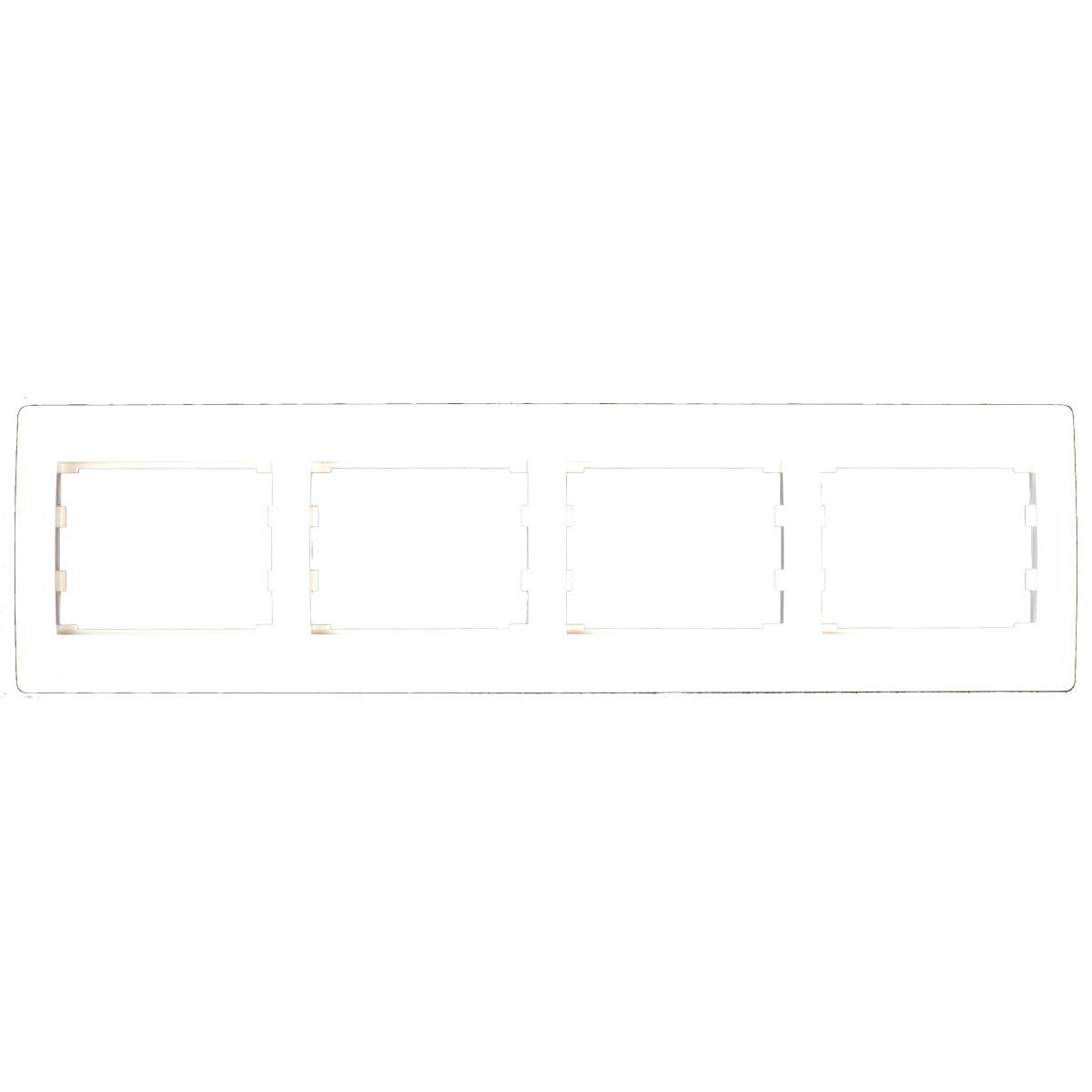 Vierfach 4-fach Rahmen Steckdose Schalter Lichtschalter weiß Serie TAILI,Vagner SDH,TL1136, 4770364030147