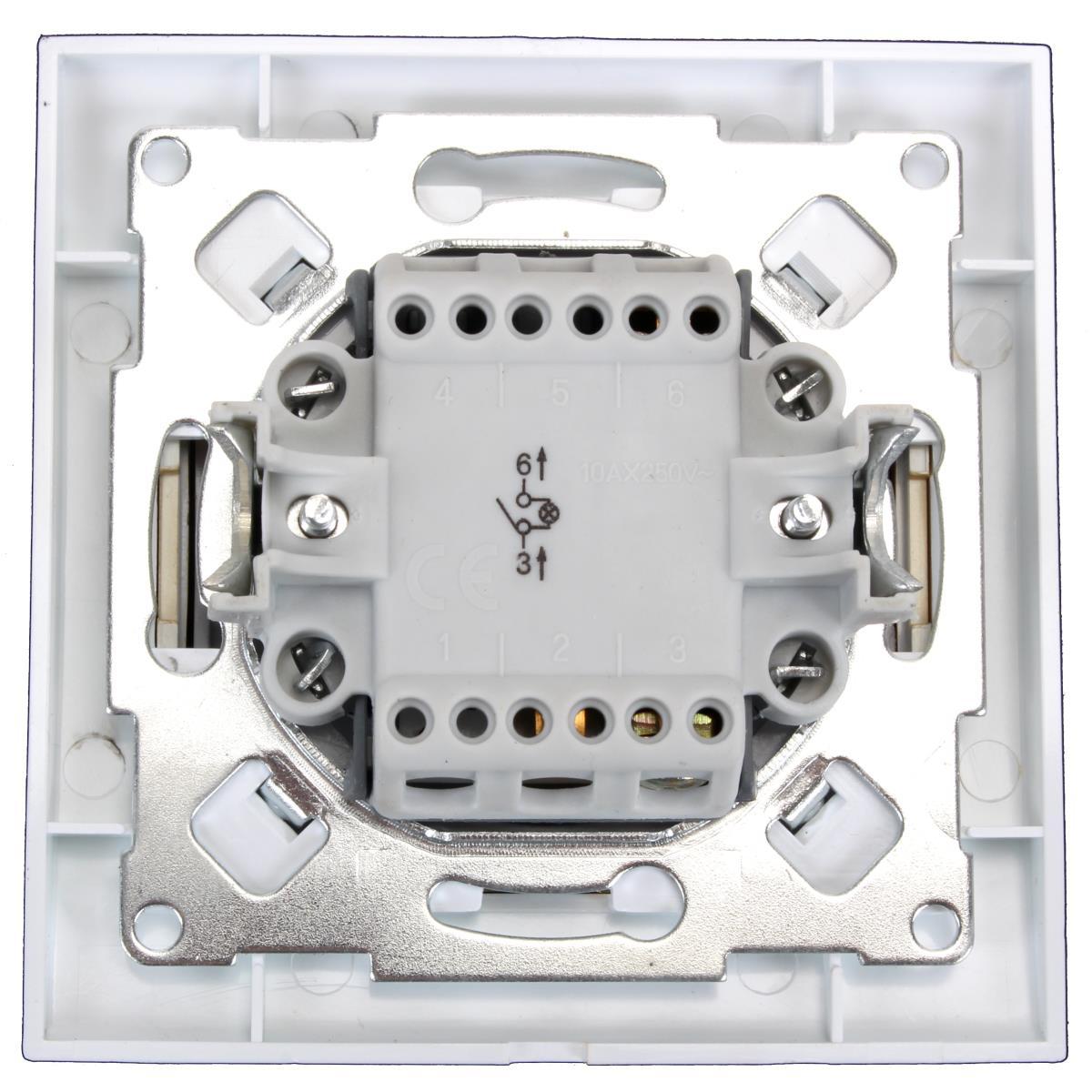 Unterputz Lichtschalter beleuchtet Farbe weiß/gold 10 A, 250 V,OKKO,9209-01N-G, 4772013048480