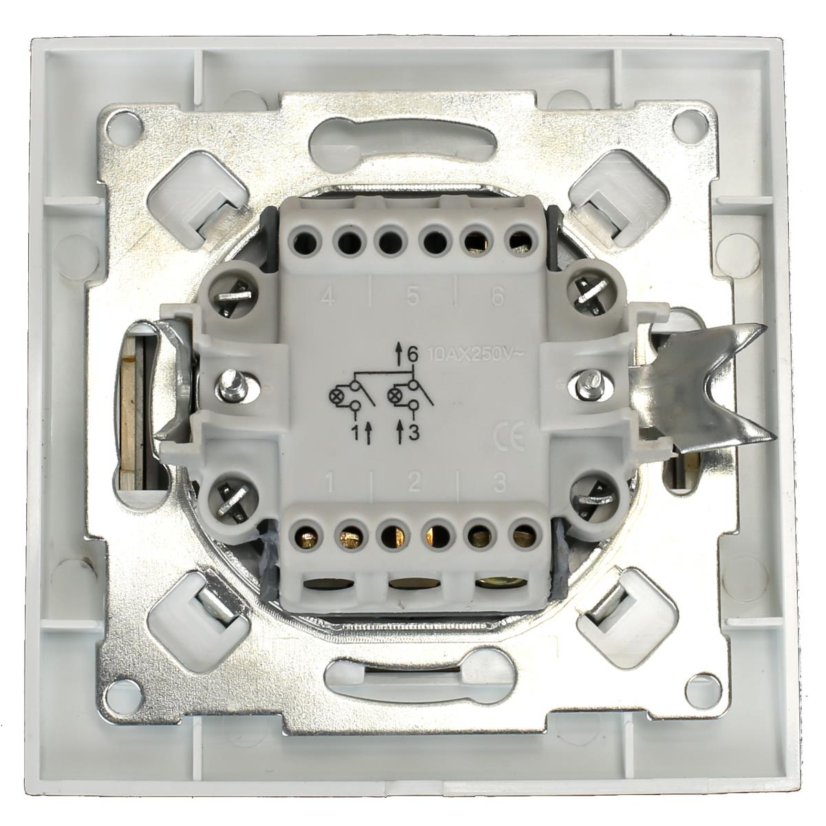 Unterputz Serienschalter beleuchtet weiß/gold 10A, Doppel Zweifach Lichtschalter,OKKO,9209-02N-G, 4772013048572