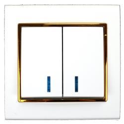 Unterputz Serienschalter beleuchtet weiß/gold 10A, Doppel Zweifach Lichtschalter