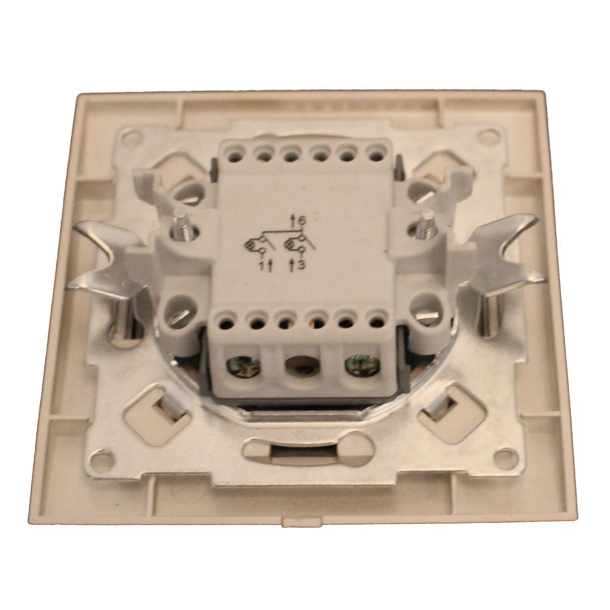 Unterputz Serienschalter beleuchtet champagner/silber 10A Zweifach Lichtschalter,OKKO,9209-02N-C, 4772013048596