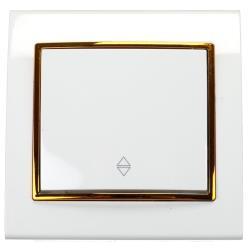 Unterputz Wechselschalter Farbe weiß/gold 10 A, 230 V,OKKO,9209-31-G, 4770364172557