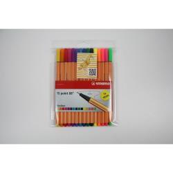 Stabilo Point Fineliner Feinschreiber 88 15 er Etui inkl. 5 Neon Farben