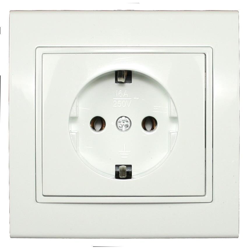 Steckdose mit Schutzkontakt Farbe weiß IP20 16A, 230 V,OKKO,9209-42, 4772013048602