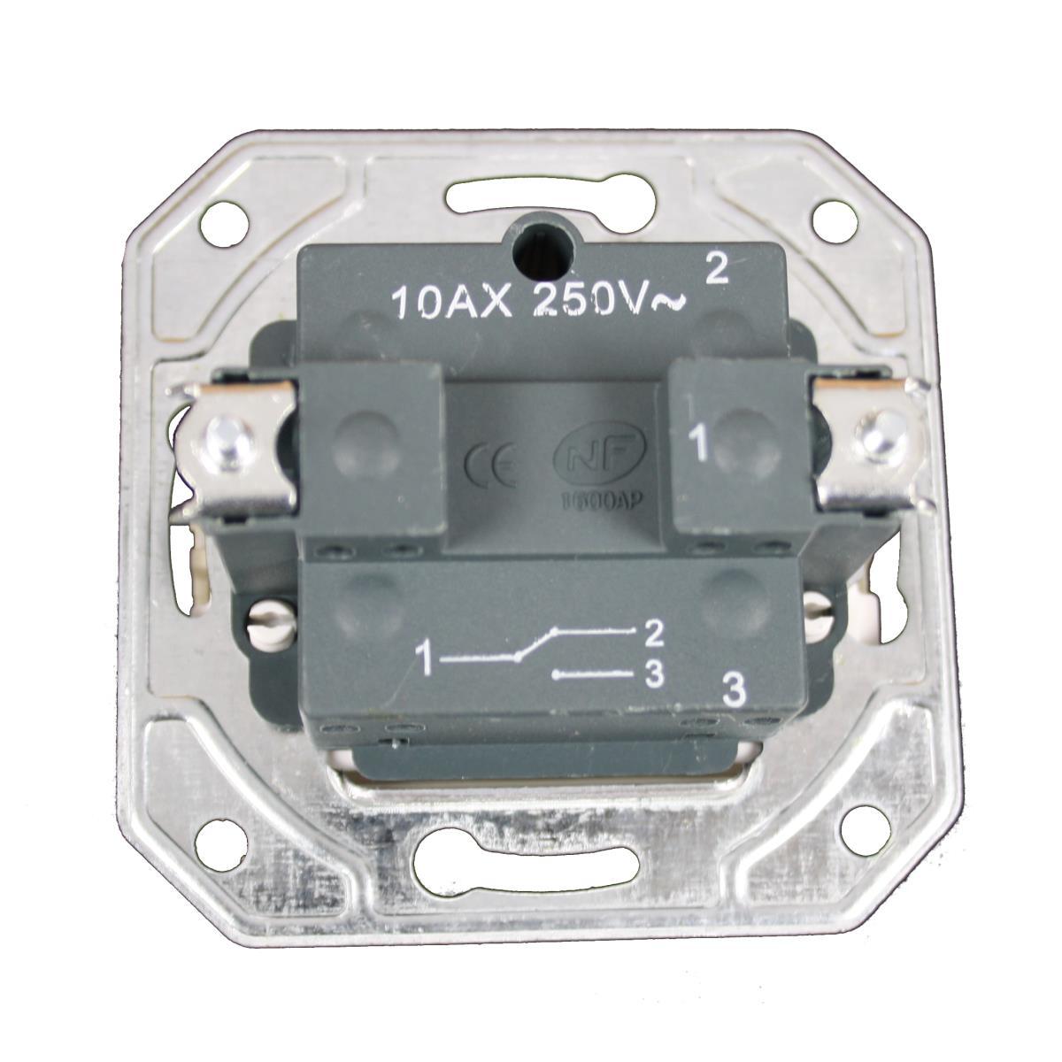 Wechselschalter Unterputz 10 A, 230 V creme weiß Serie TAILI,Vagner SDH,TL1102CRM, 4770364106545