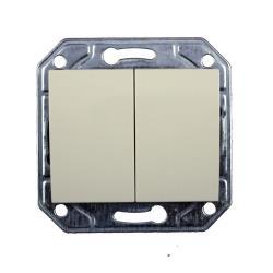 Doppel zweifach Lichtschalter Serienschalter Unterputz creme weiß Serie TAILI,Vagner SDH,TL1104CRM, 4770364104152