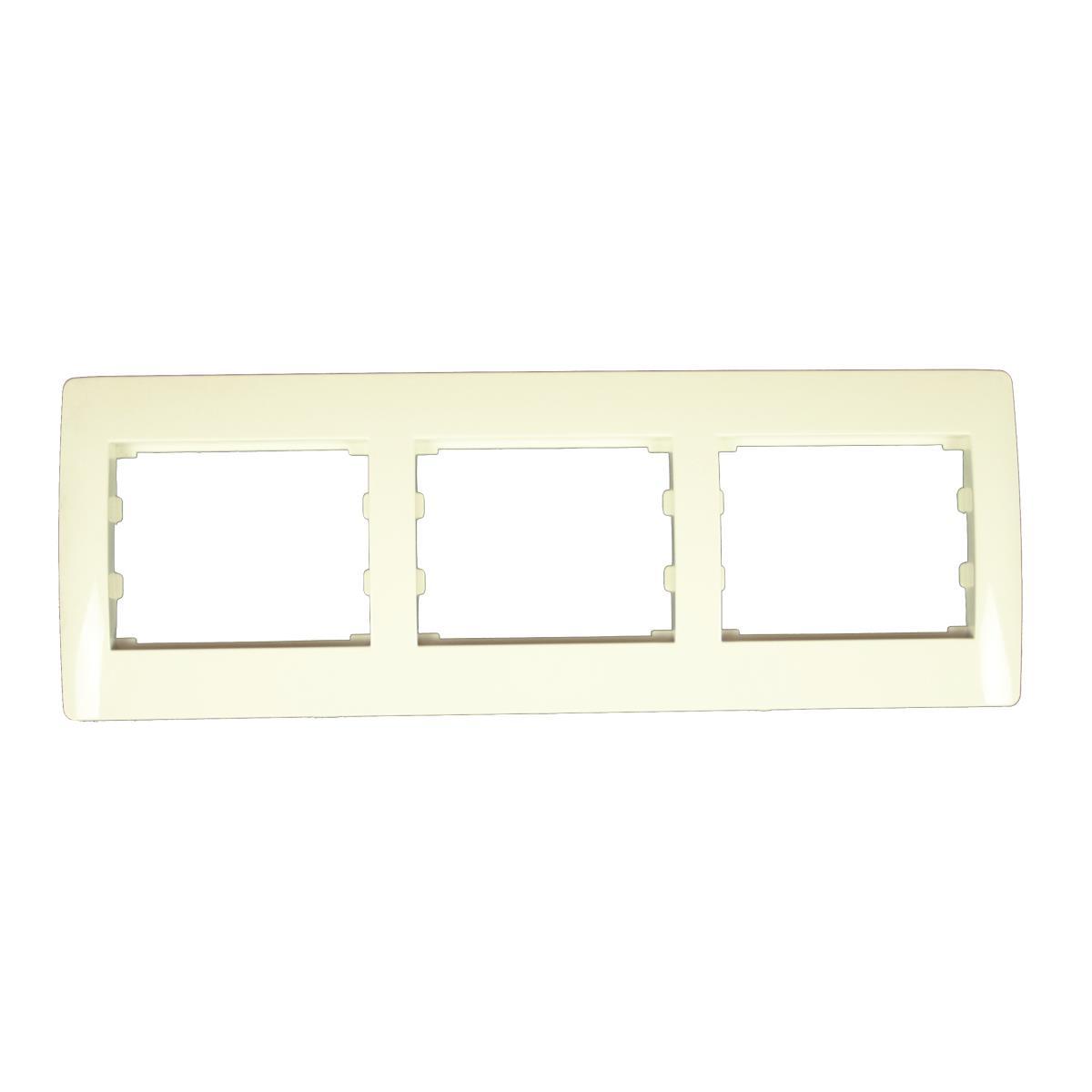 Dreifach 3-fach Rahmen Steckdose Schalter Lichtschalter creme weiß Serie TAILI,Vagner SDH,TL1145CRM, 4770364043901