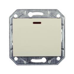 Lichtschalter Unterputz mit Kontrolleuchte 10 A, 230 V creme weiß Serie TAILI,Vagner SDH,TL1101BCRM, 4770364106866