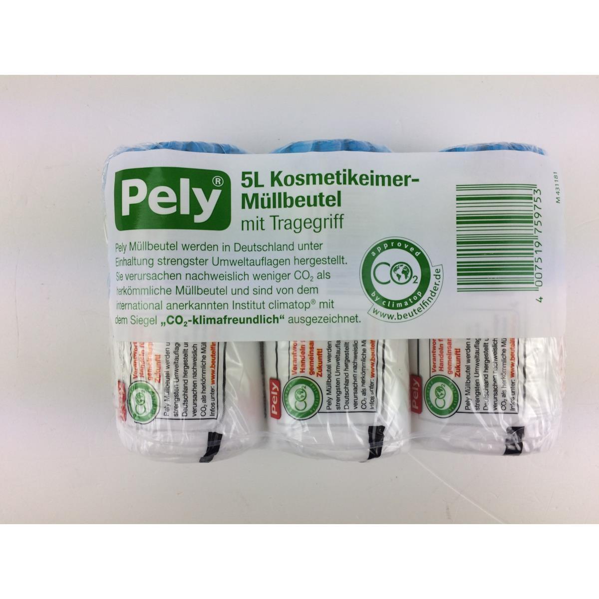 Pely Kosmetikeimer Müllbeutel mit Tragegriff  5 Liter 120 Stück,Pely,4007519759753, 4007519759753