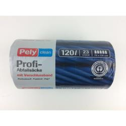 Pely Profi Abfallsäcke mit Verschlussband 120 L 23 Stück Müllsäcke Sack Abfall