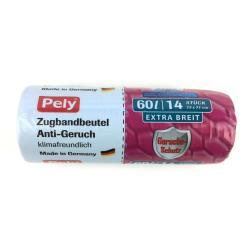 Pely Anti Geruch  Müllbeutel mit Zugband 60 L 14 Beutel  Müllsack Geruch Schutz