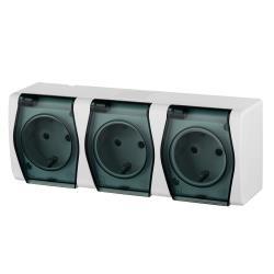 Aufputz AP Schuko dreifach Steckdose IP44 Farbe weiß/schwarz HERMES2,Elektro-Plast,1026-01, 5907569151141