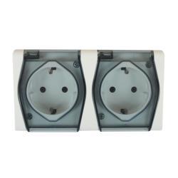 Aufputz AP Schuko zweifach doppel Steckdose IP44 HERMES2,Elektro-Plast,1025-01, 5907569151127