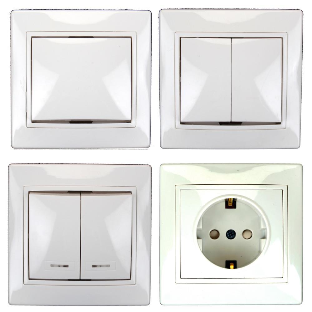 Lichtschalter Serienschalter Dimmer Steckdose farbe weiß/gold | eBay