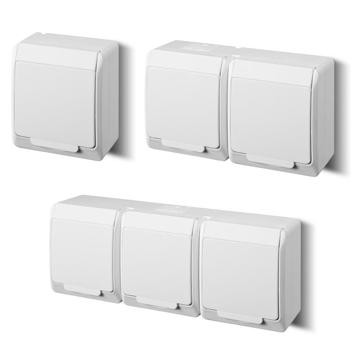 aufputz lichtschalter serienschalter feuchtraum shuko steckdose ip54 serie vika ebay. Black Bedroom Furniture Sets. Home Design Ideas